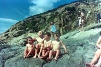 Amb els germans a la platja de l'Almadrava