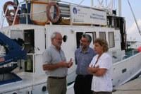 Visita al vaixell de recerca arqueològica subaquàtica Tethis amb el Sr. Miquel Sitjar, director territorial de Cultura i el Sr. Xavier Nieto, director del Centre d´Arqueologia Subaquàtica de Catalunya (CASC)