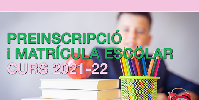 Preinscripció escolar i matrícula d'Educació infantil (segon cicle), primària i secundària obligatoria.